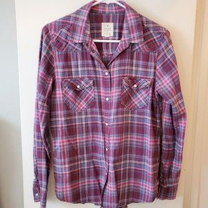 American Eagle Outfitters purple pink plaid top